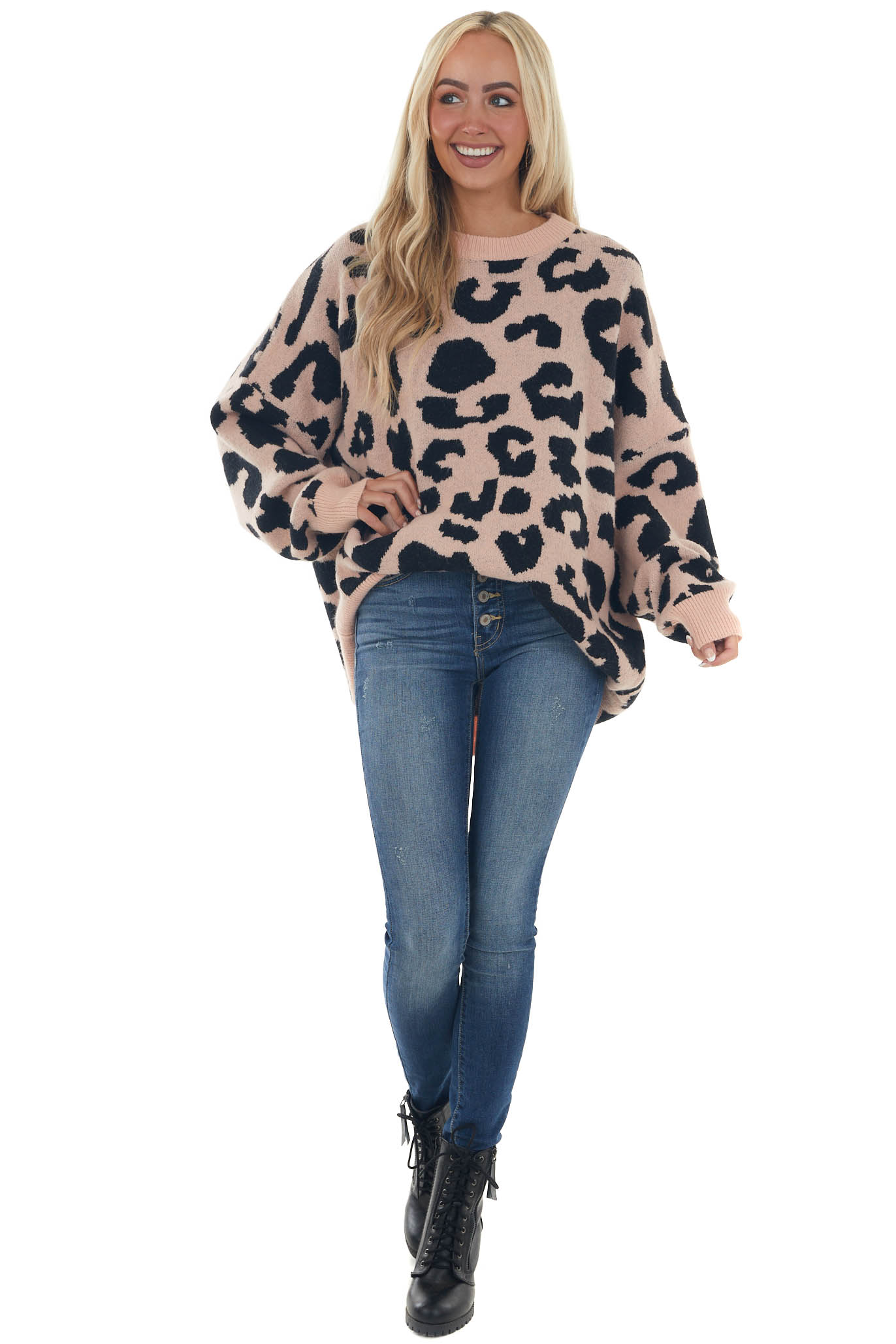 Pale Pink Leopard Print Oversized Soft Sweater