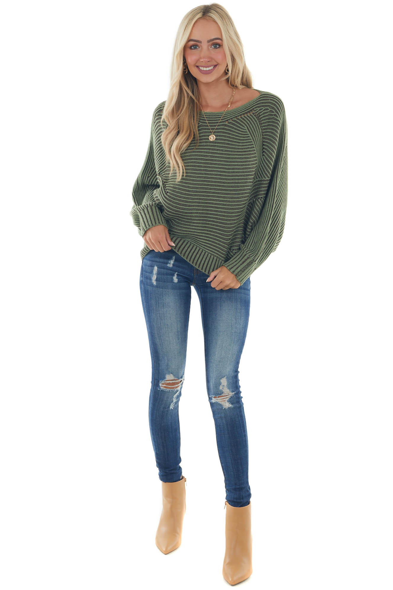 Olive Two Toned Dolman Sleeve Sweater