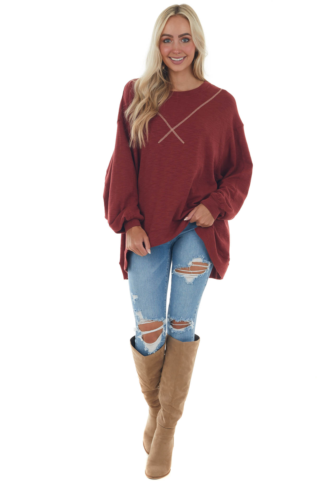 Maroon Oversized Knit Top with Long Sleeves