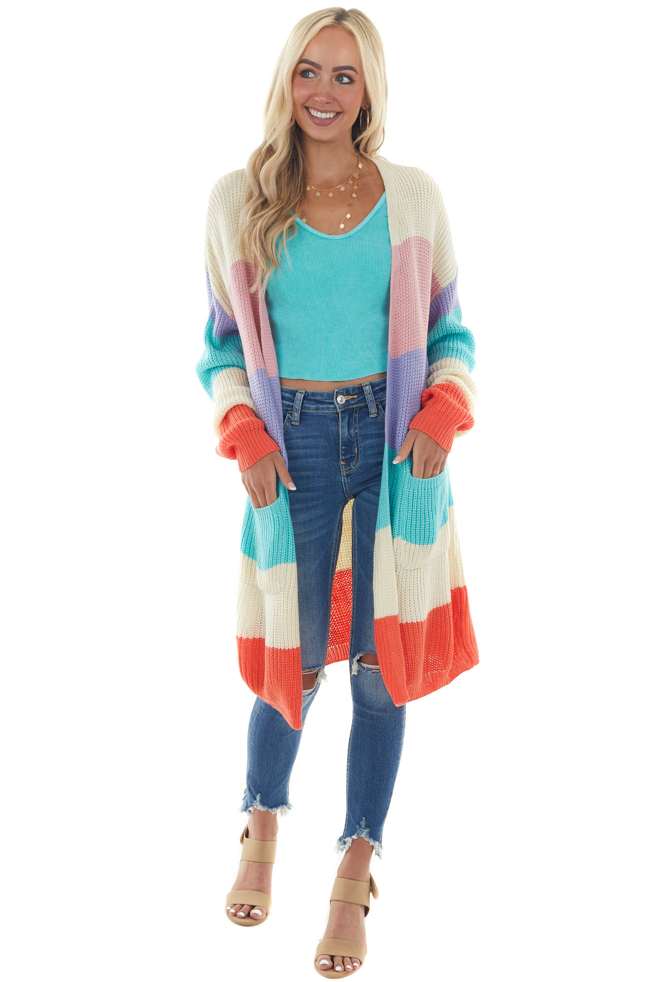 Cream Colorblock Knit Open Front Cardigan