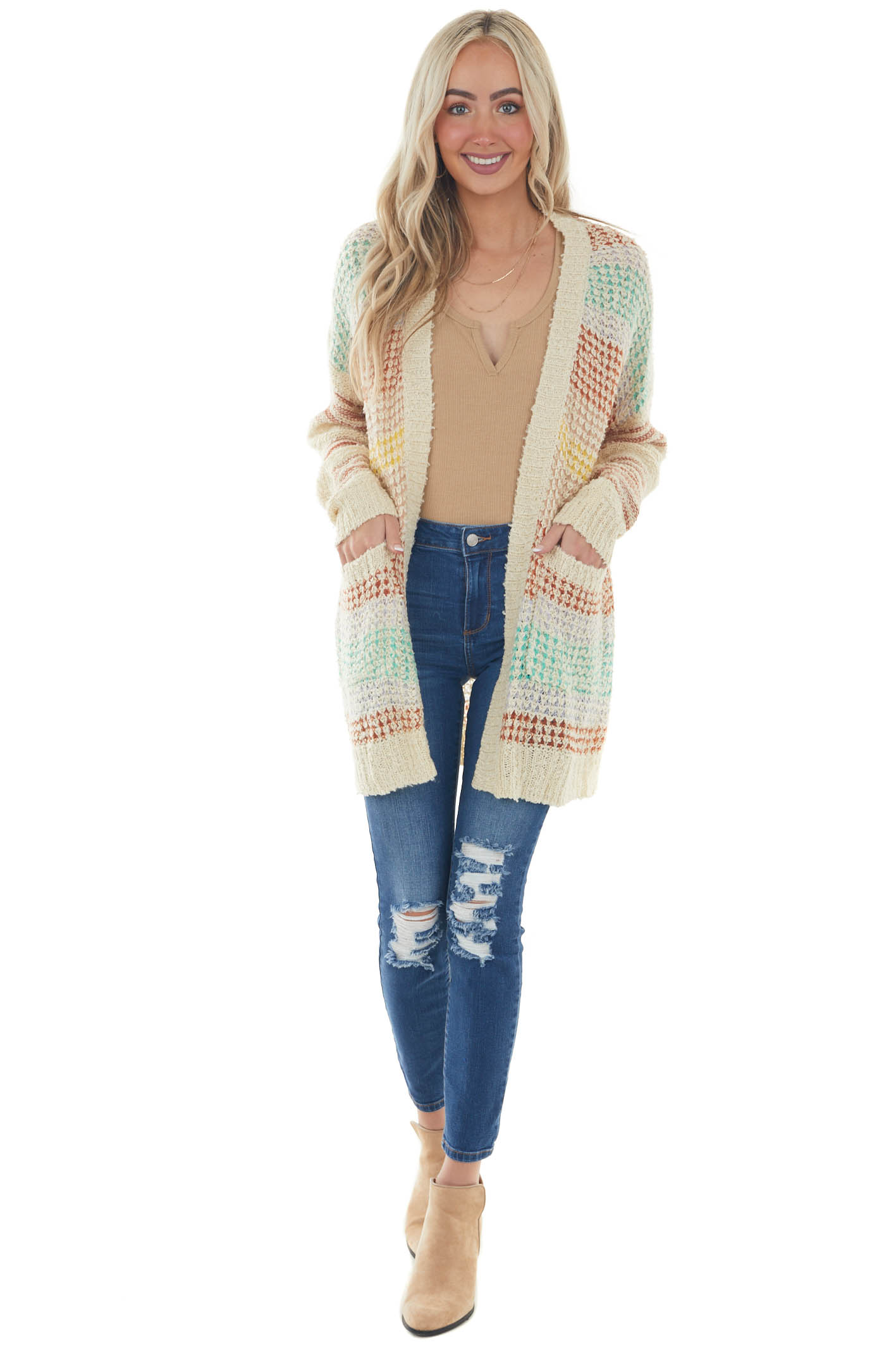 Champagne Colorful Striped Loose Knit Cardigan