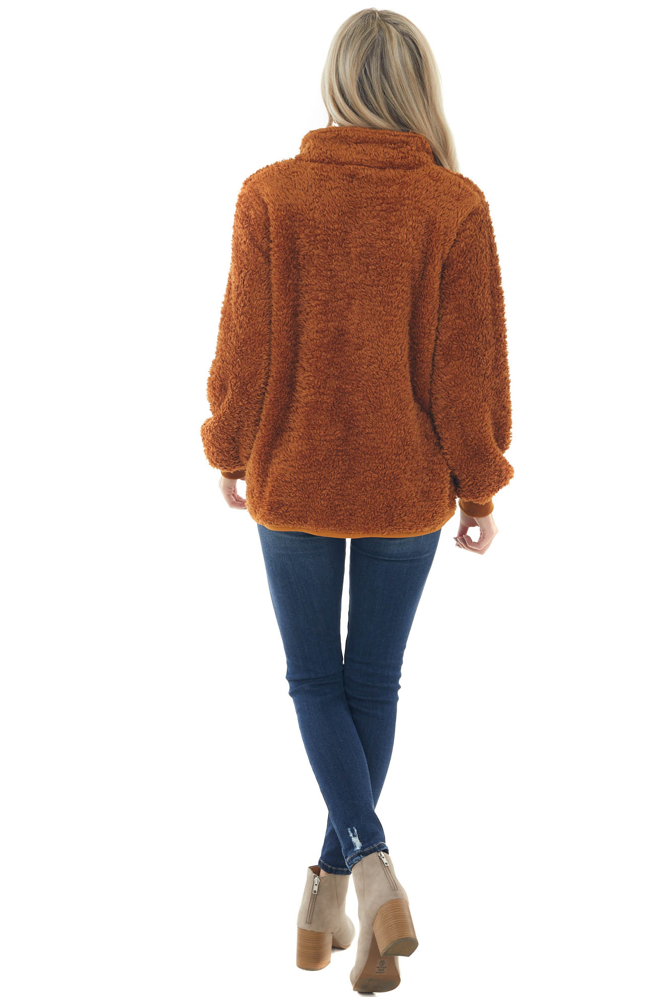 Copper Zip Up Soft Furry Jacket with Pockets