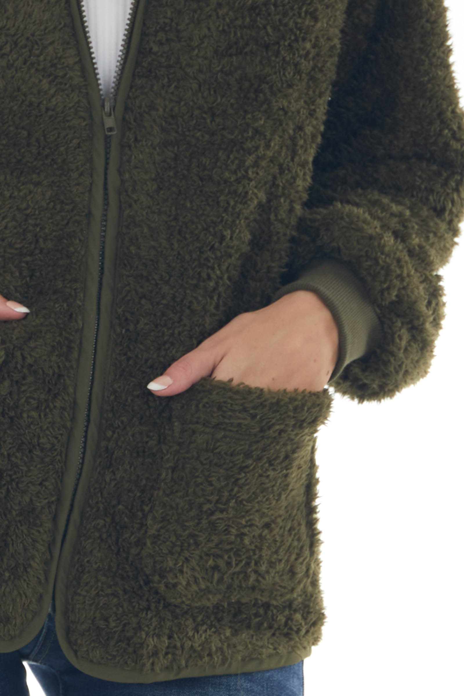 Army Green Zip Up Furry Jacket with Pockets