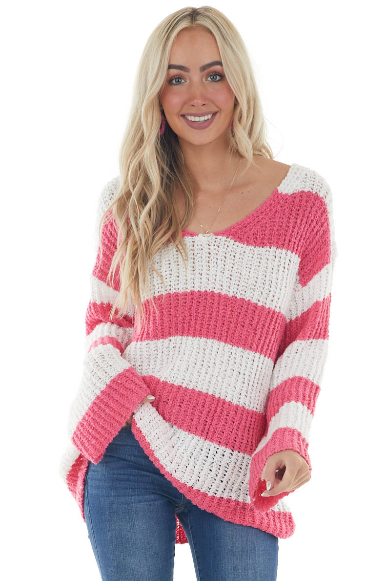 Off White and Raspberry Striped Soft Sweater
