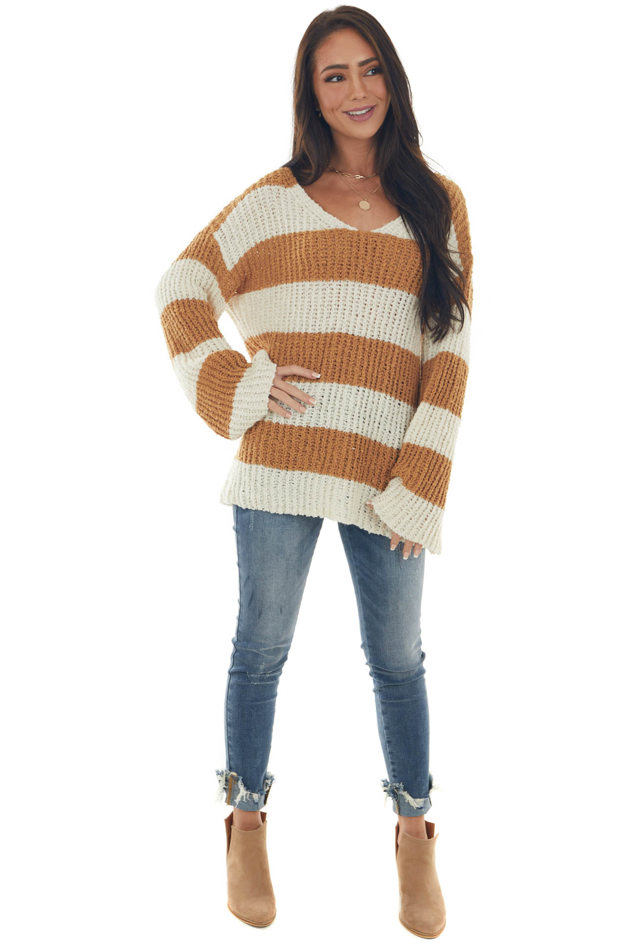 Caramel and Cream Striped Soft Knit Sweater