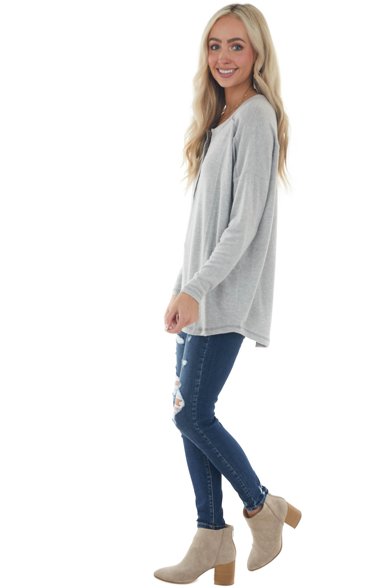 Dove Grey Brushed Knit Long Sleeve Henley Top