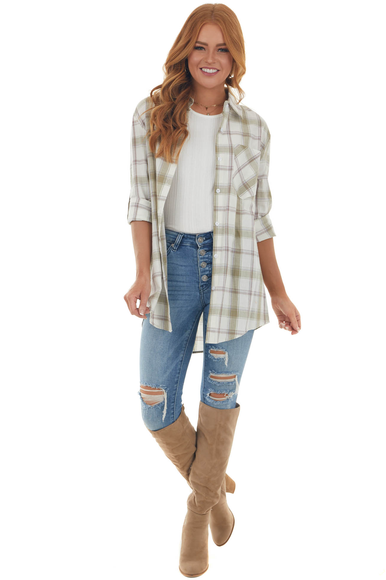 Light Olive Plaid Long Sleeve Button Up Top