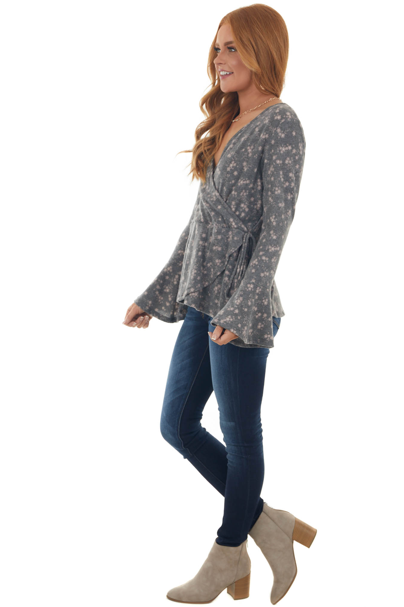 Stone Grey Ditsy Floral Surplice Soft Knit Top
