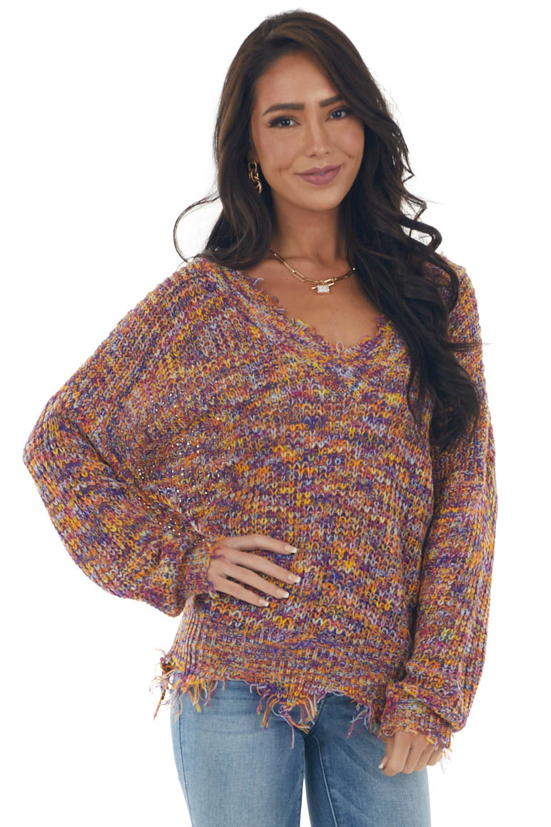 Boysenberry Multicolor Distressed Knit Sweater