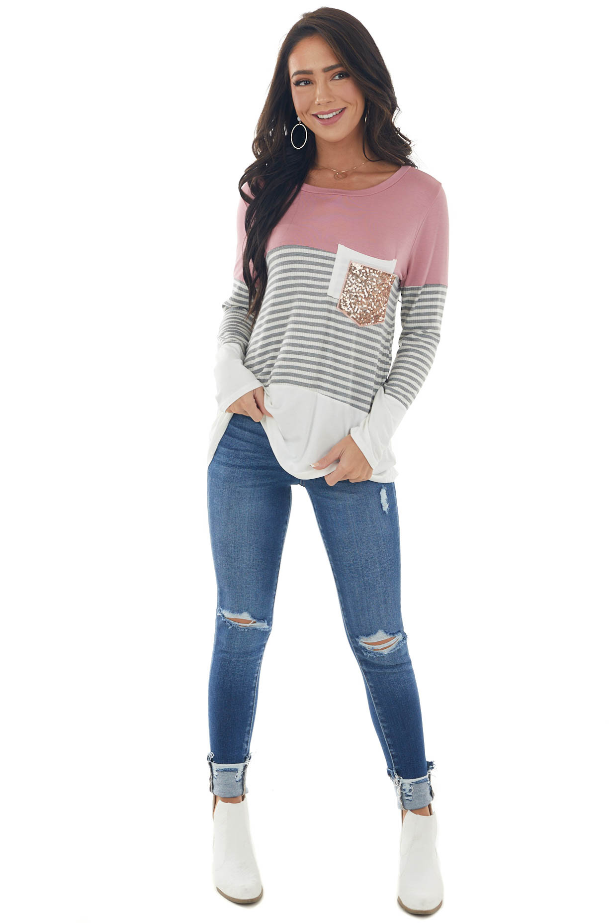 Dusty Punch Colorblock Double Pocket Knit Top