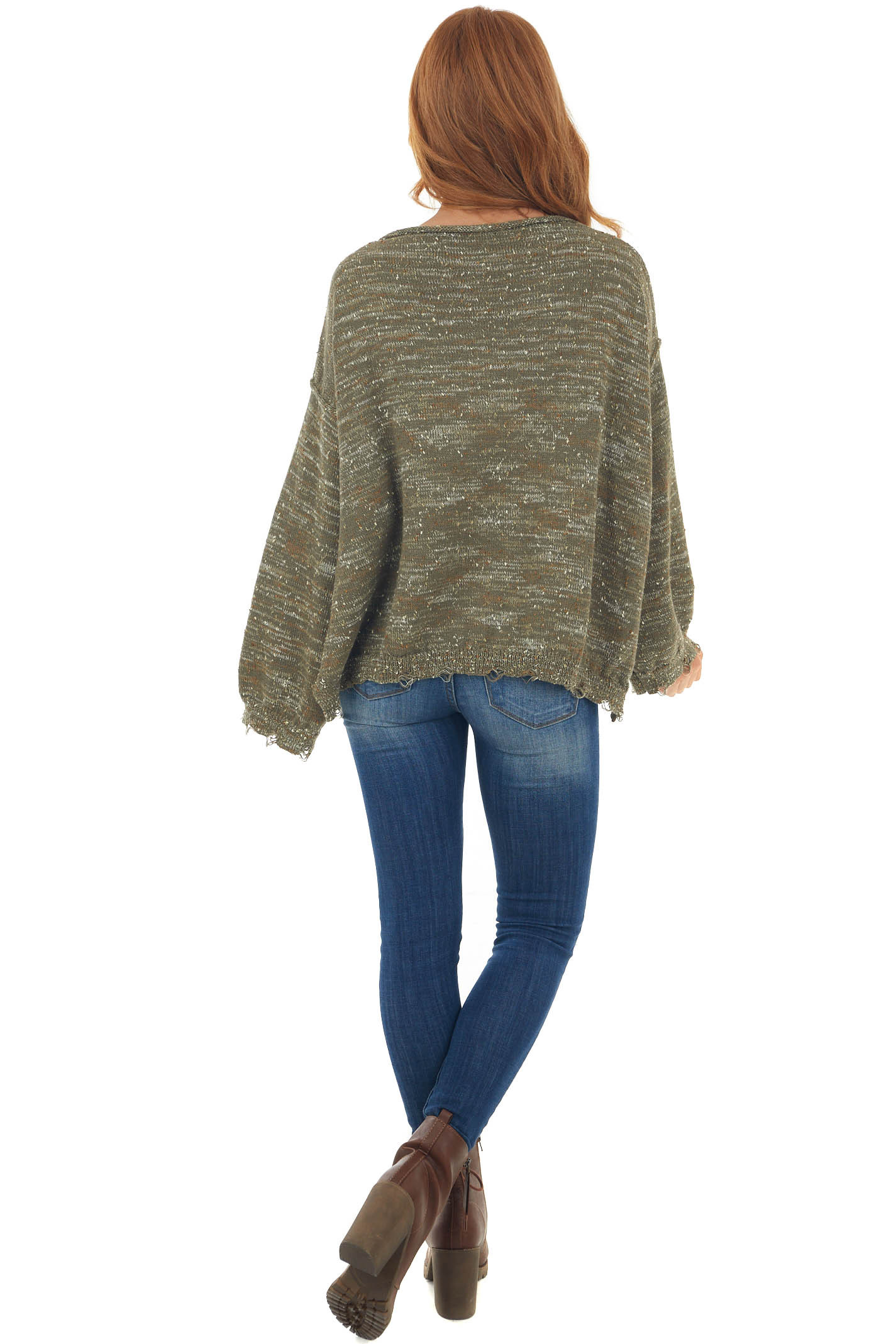 Army Green Abstract Popcorn Oversized Sweater