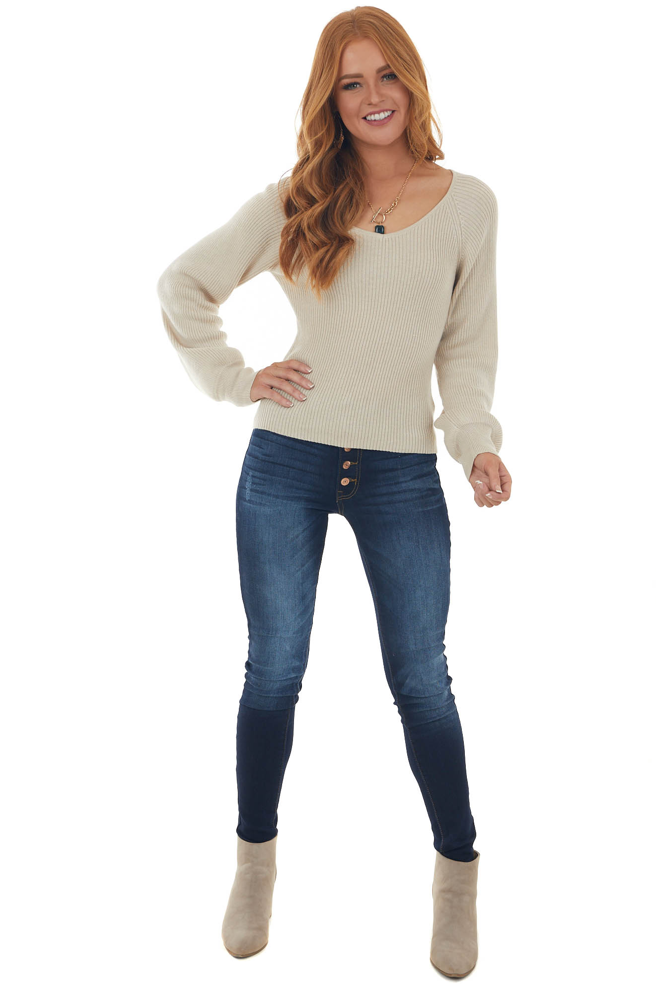 Beige Ribbed Knit Top with Bubble Sleeves
