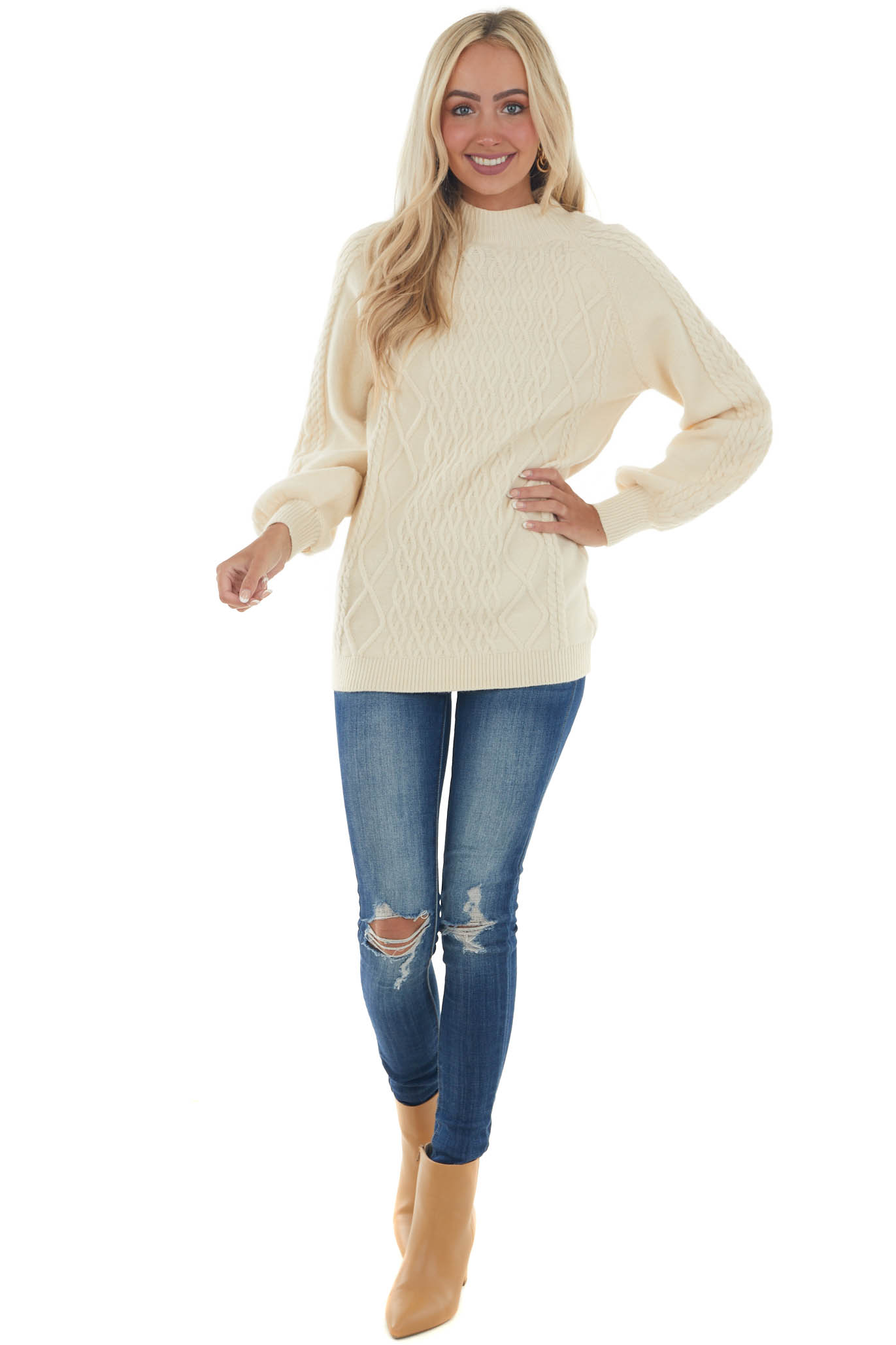 Cream Long Puff Sleeve Cable Knit Sweater