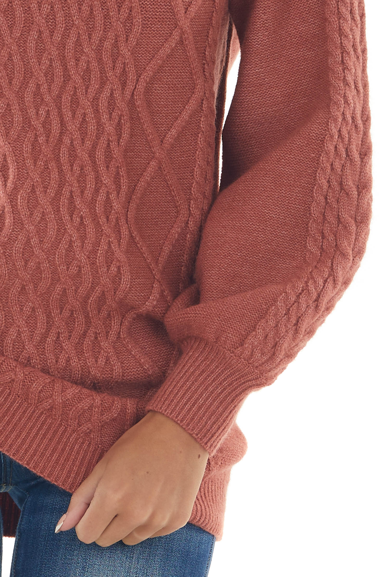 Ginger Long Puff Sleeve Cable Knit Sweater