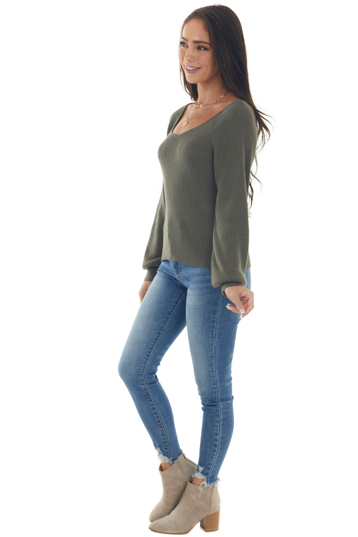 Dark Olive Ribbed Knit Top with Bubble Sleeves