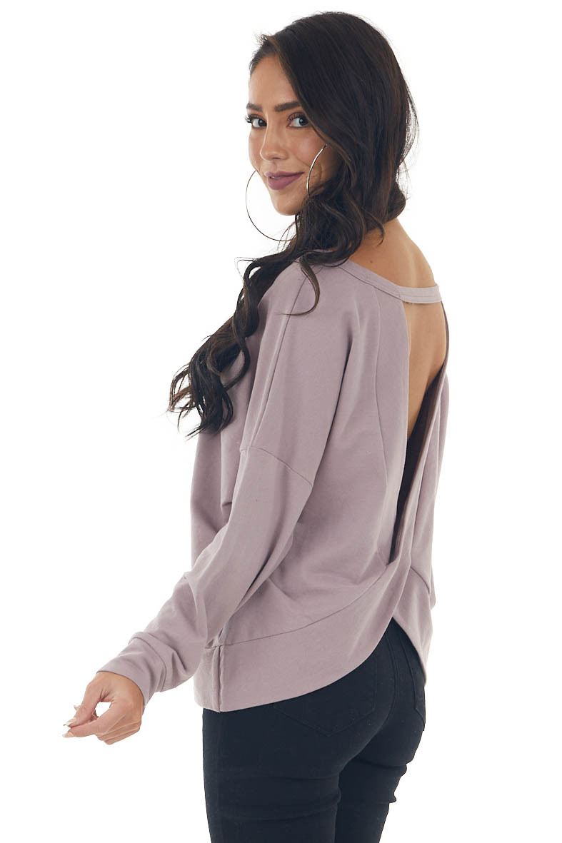 Mauve Open Back French Terry Pullover Top