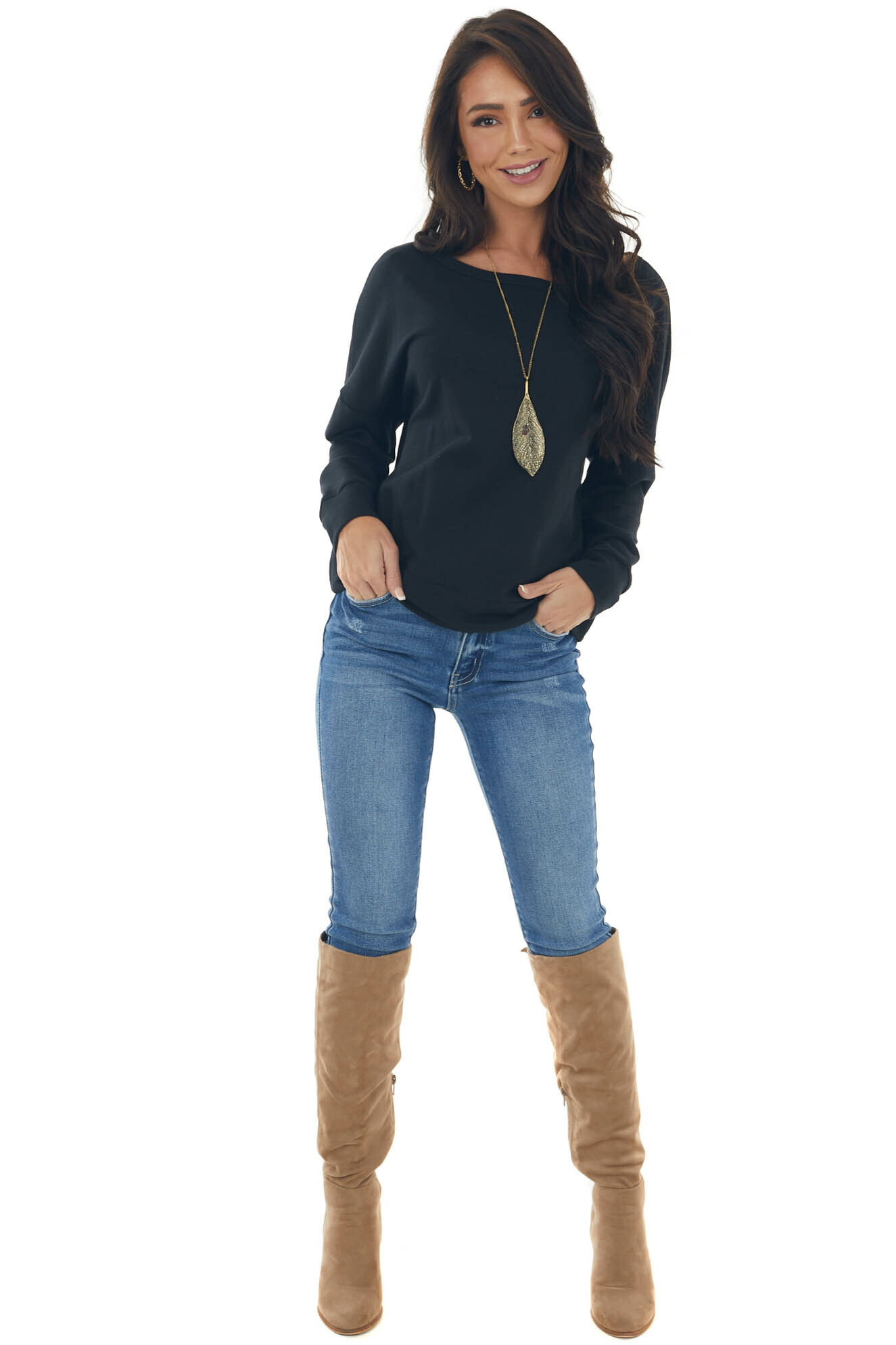 Black Open Back French Terry Pullover Top
