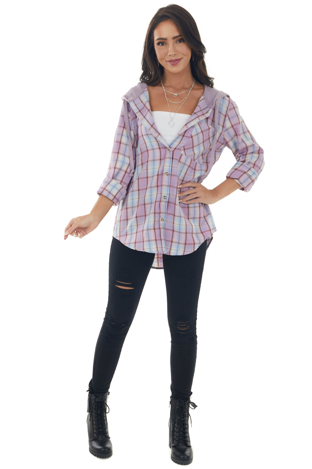 Orchid Plaid Print Shirt Jacket with Hoodiev