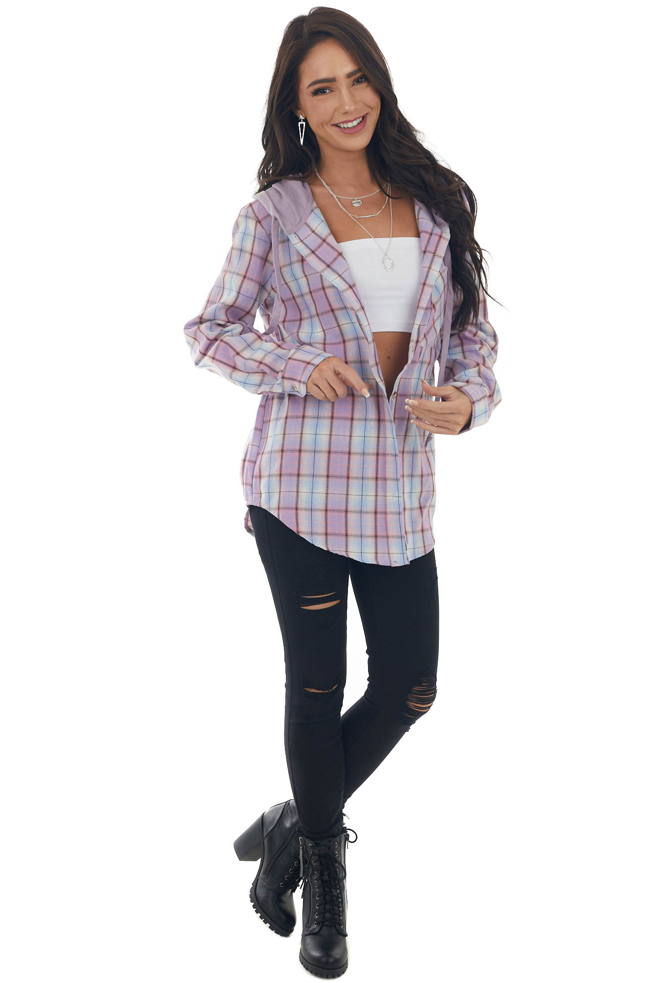 Orchid Plaid Print Shirt Jacket with Hoodie