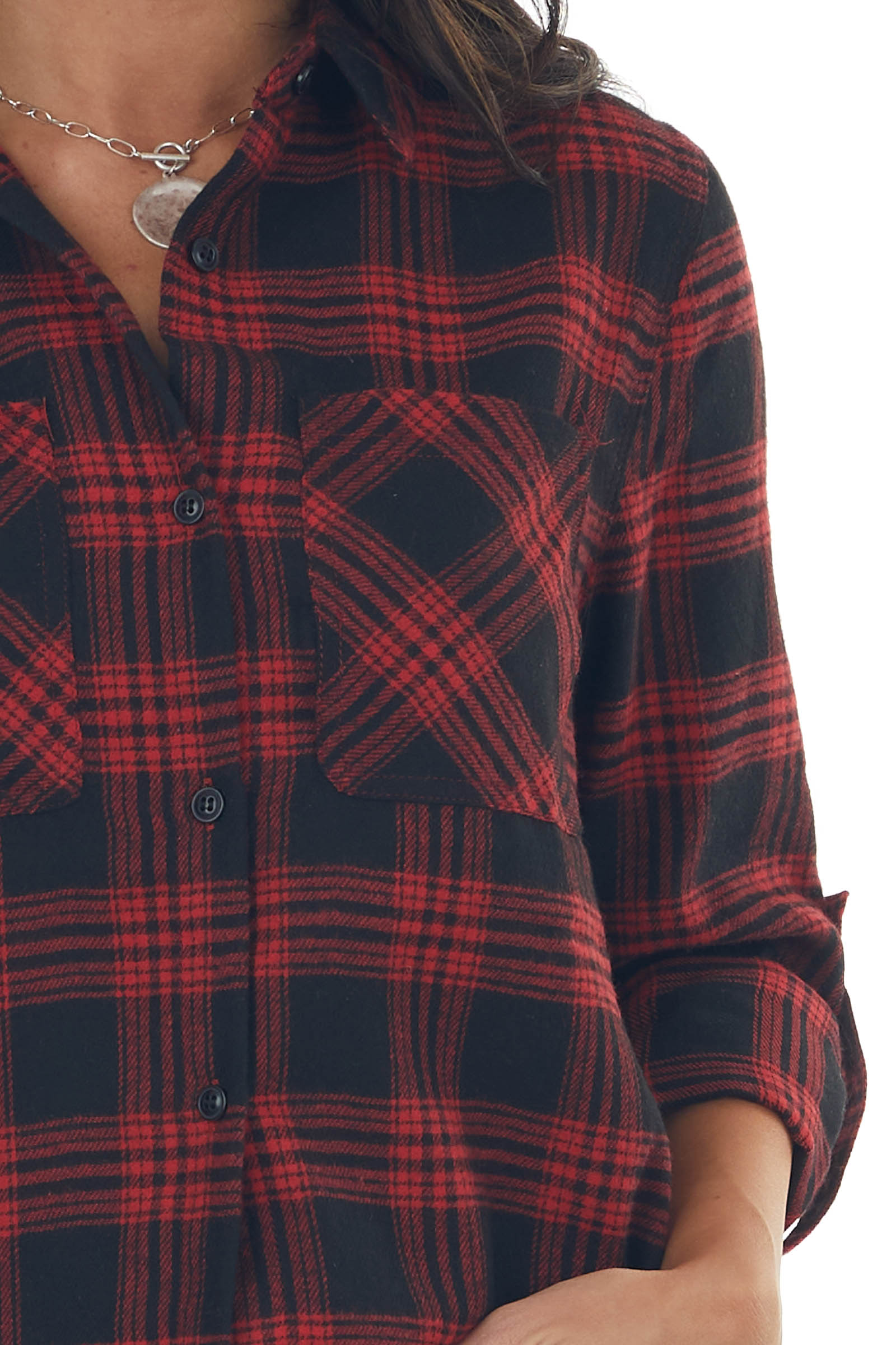 Red and Black Plaid Button Down Woven Top
