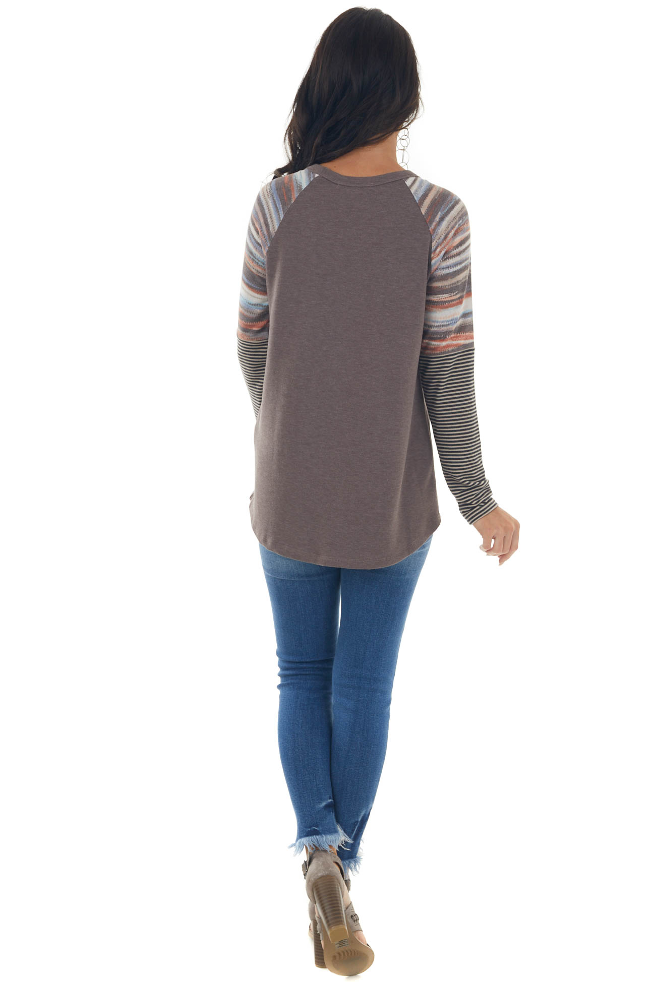 Chocolate Long Multiprint Sleeve Knit Top