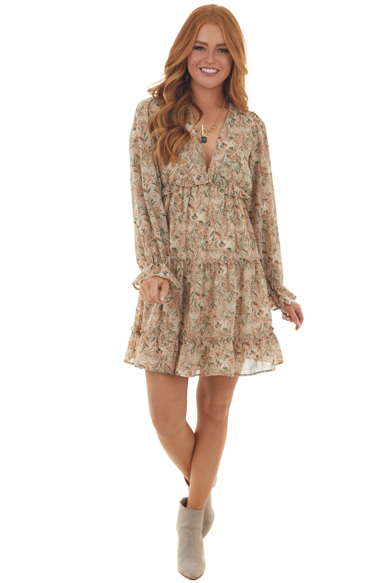 Nude Floral Print Mini Dress with Open Back