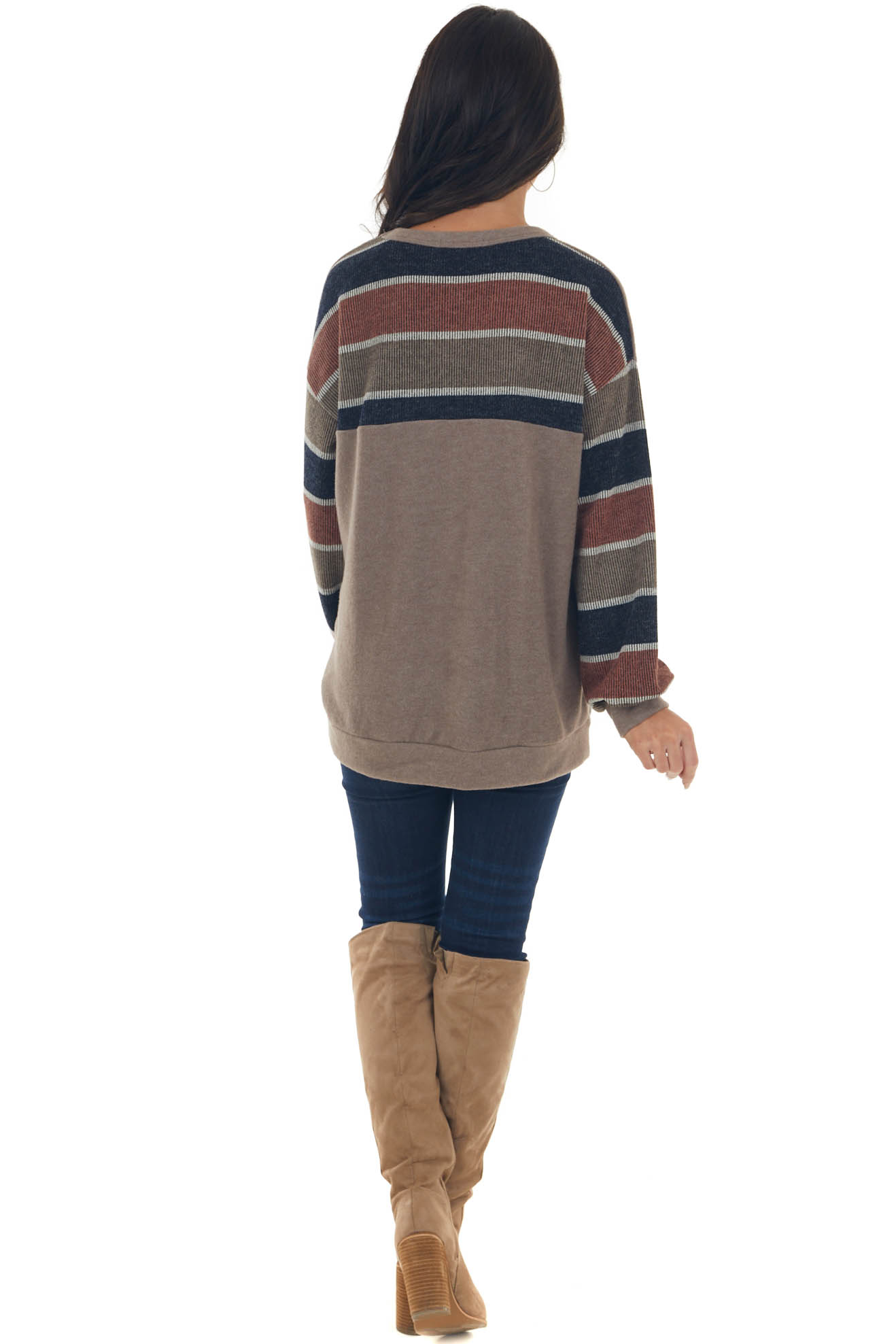 Taupe Striped Top with Exposed Stitching Detail