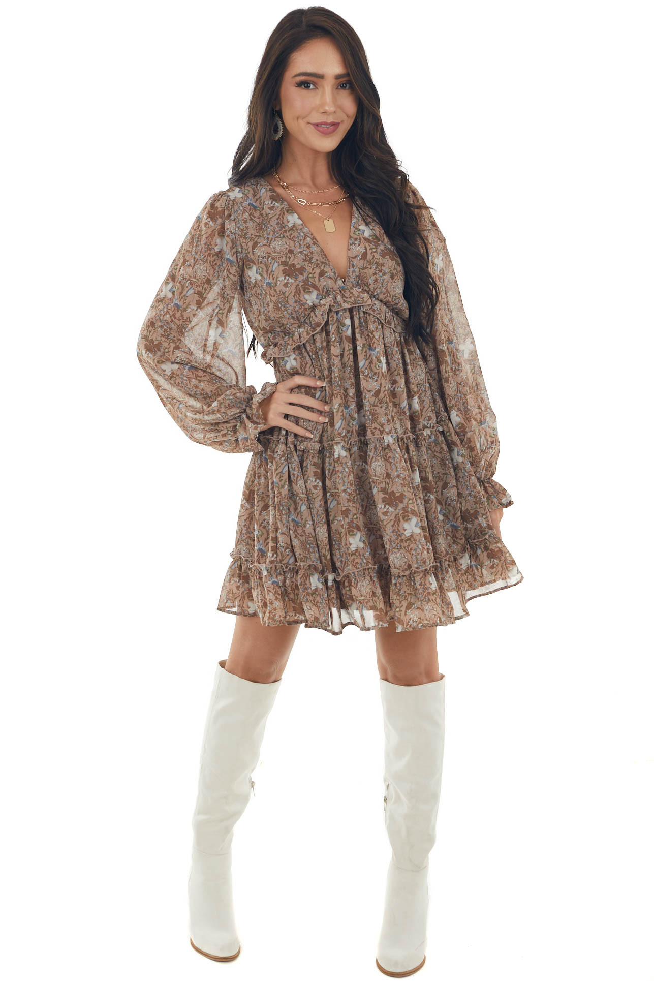 Light Sepia Floral Mini Dress with Open Back