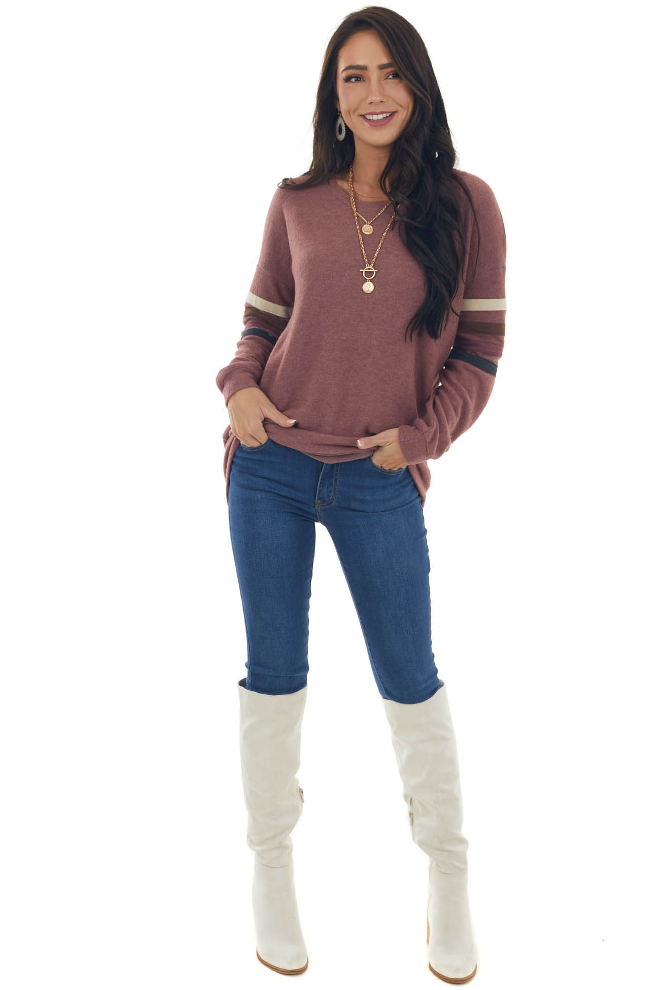 Berry Soft Knit Long Striped Sleeve Top