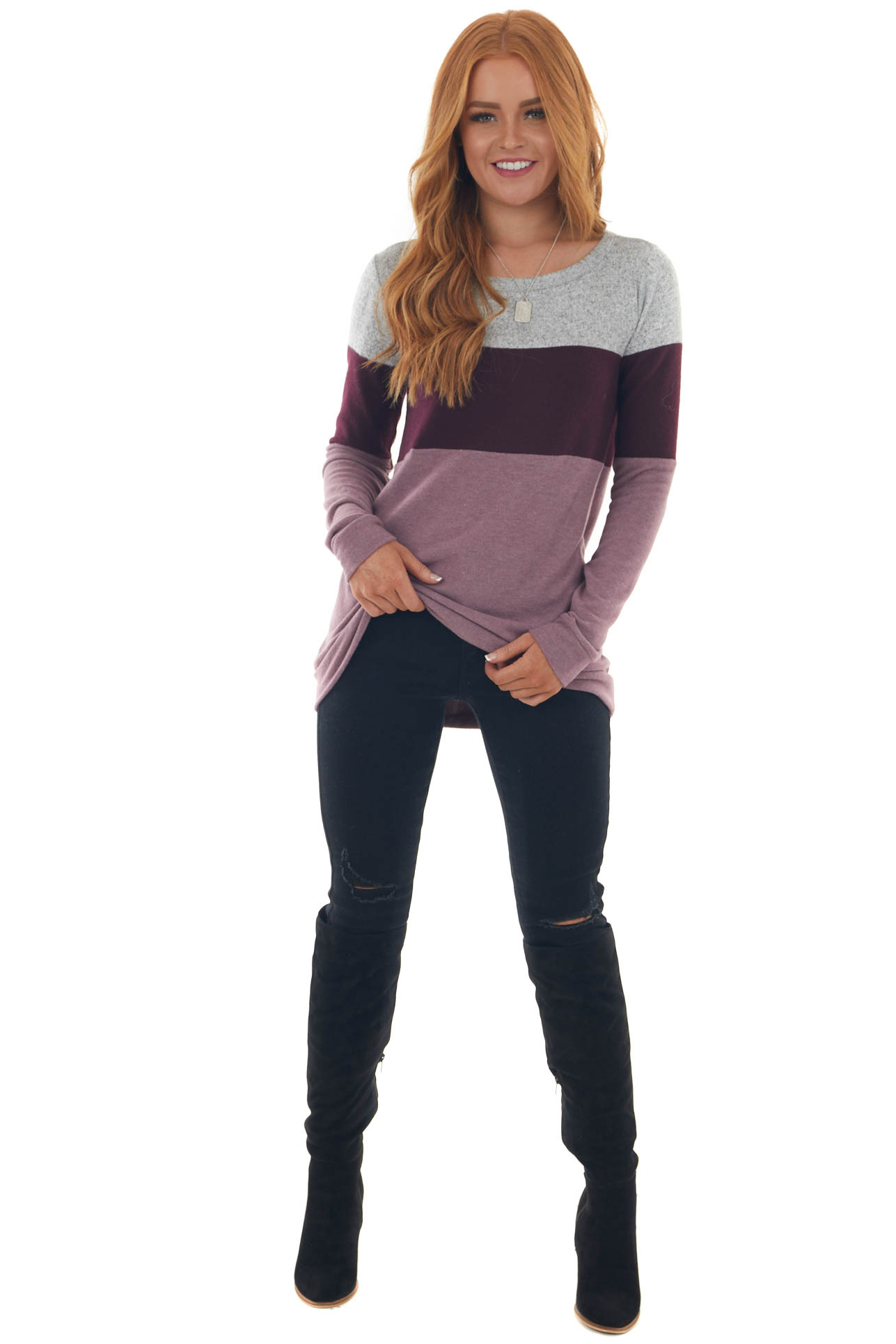 Grey and Eggplant Color Block Long Sleeve Top