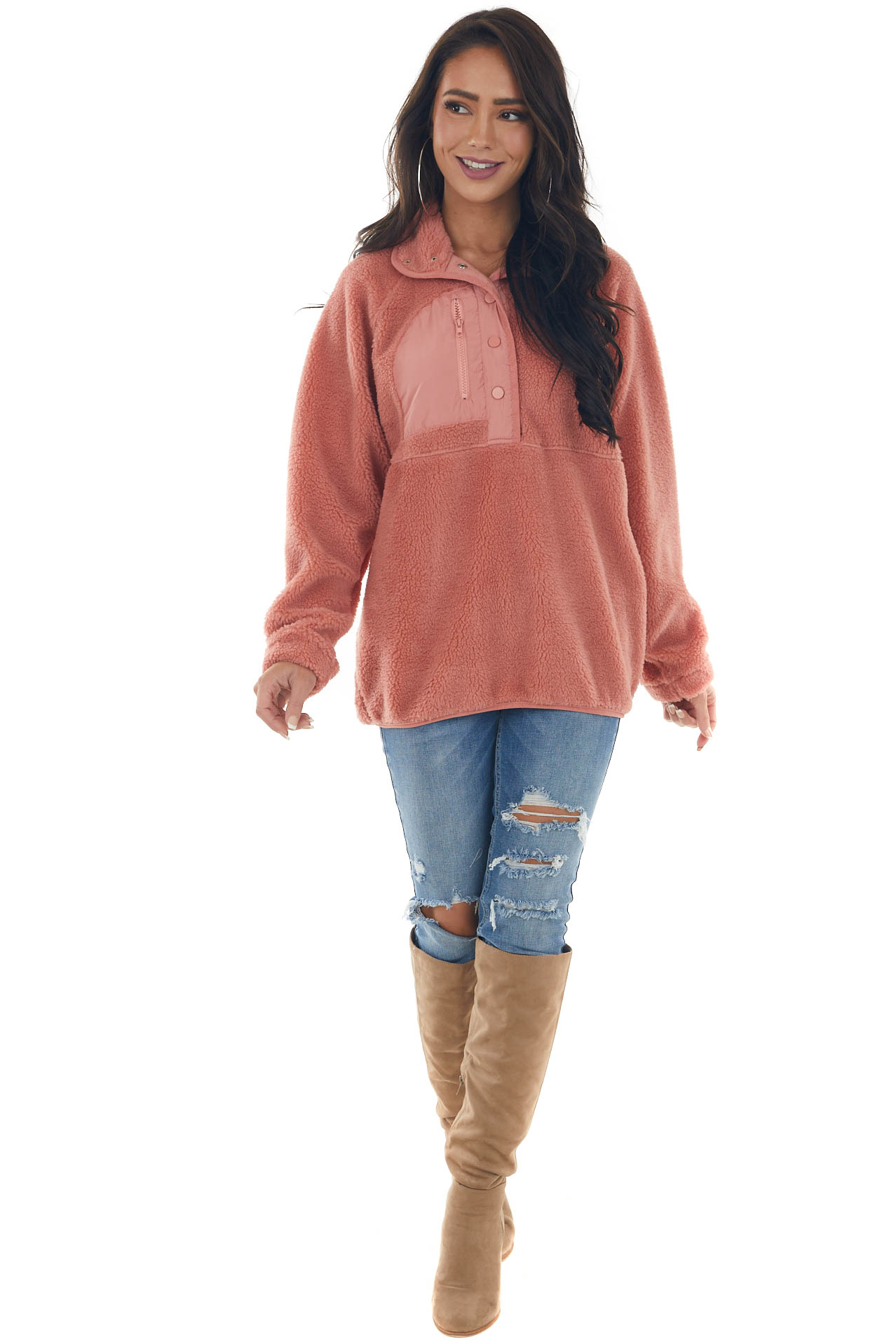 Rich Coral Fuzzy Sherpa Henley Sweater