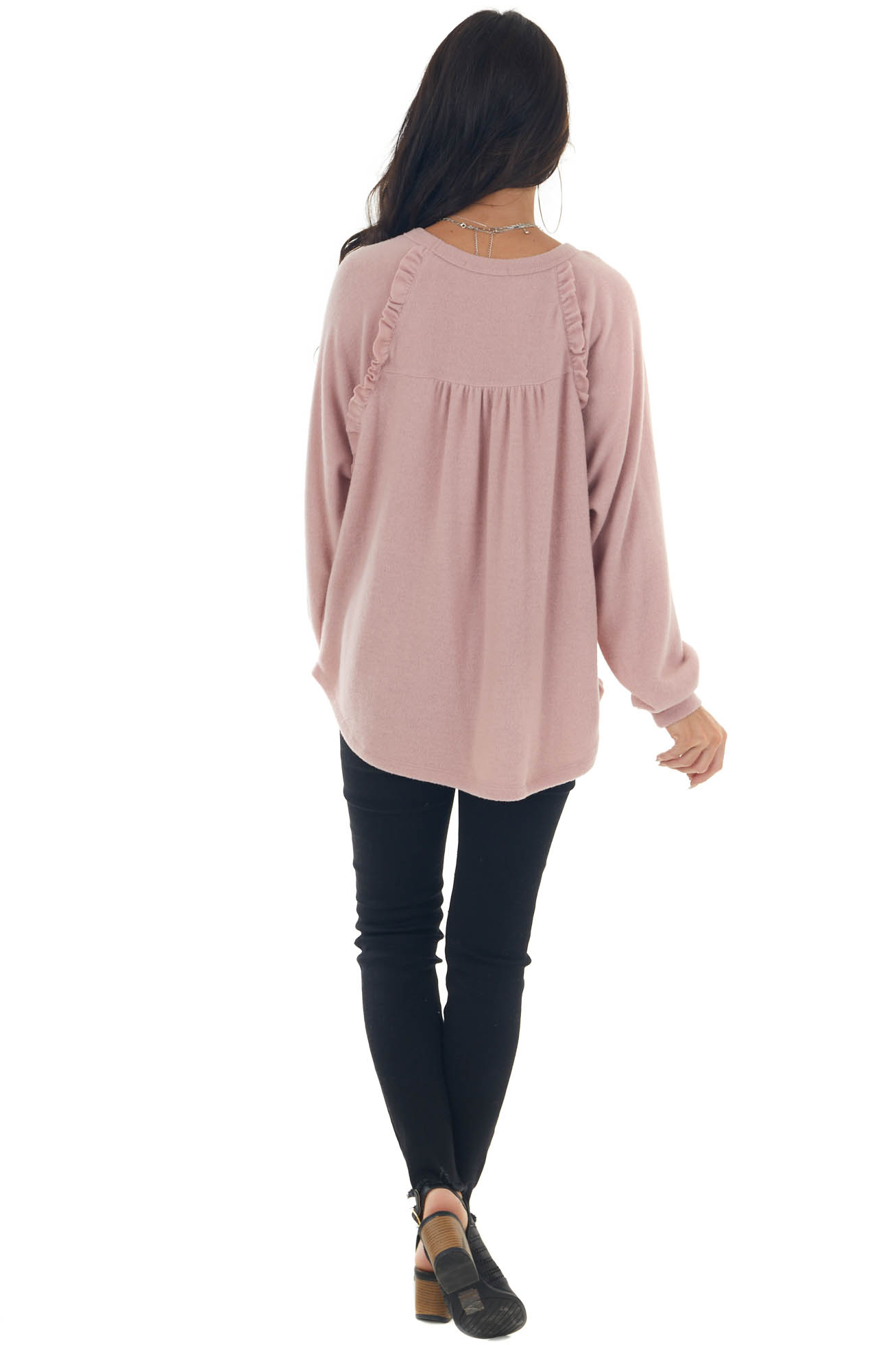 Cherry Blossom Long Sleeve Brushed Knit Top