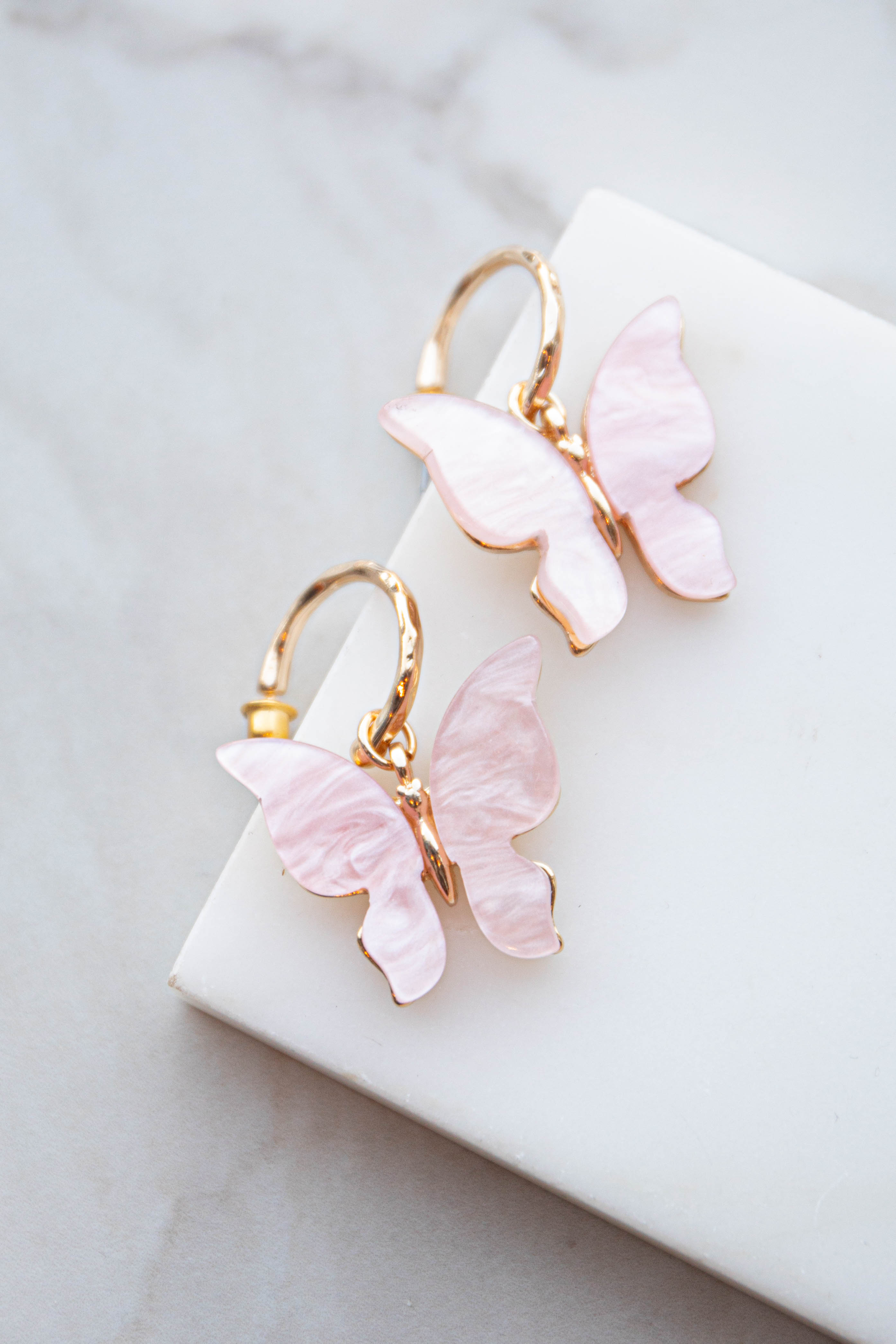 Blush and Gold Acrylic Butterfly Drop Earrings