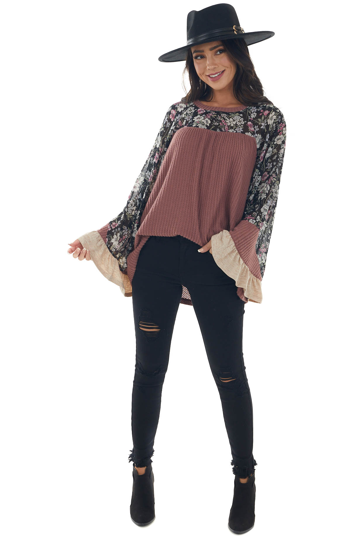 Rich Sienna Floral Yoke Bell Tiered Sleeve Top