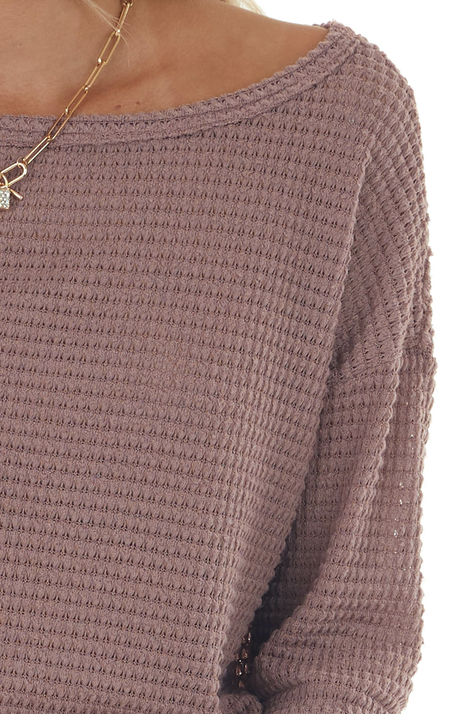 Mauve Waffle Knit Tunic Top with Boat Neckline