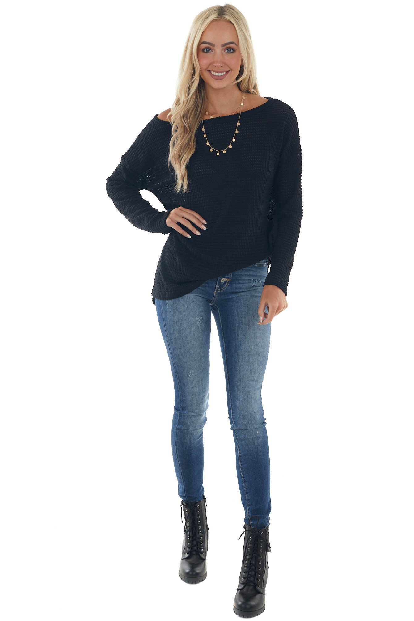 Black Waffle Knit Tunic Top with Boat Neckline