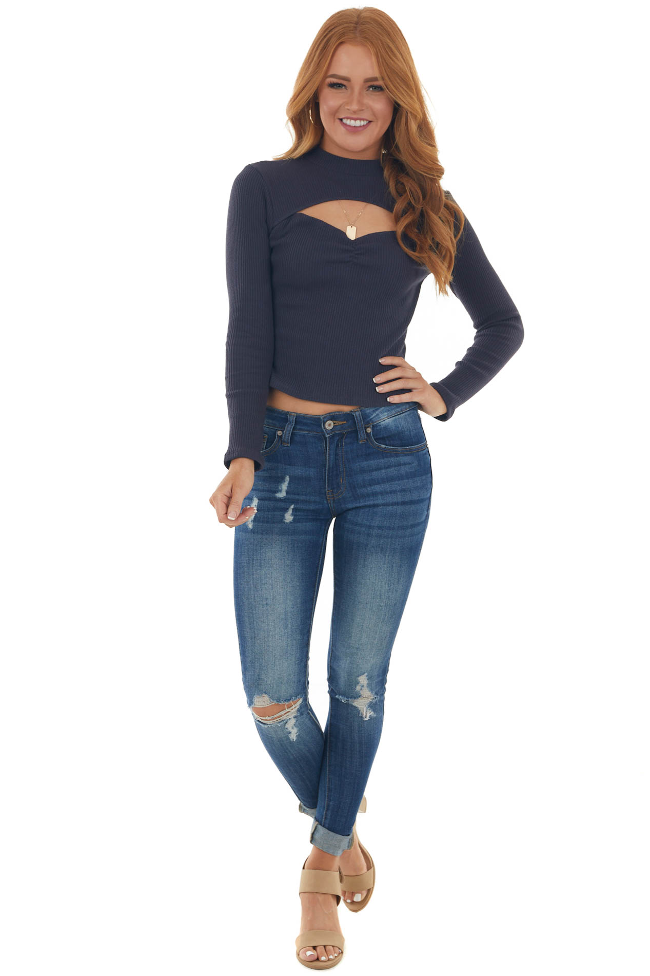 Navy Sweetheart Neck Top with Chest Cut Out