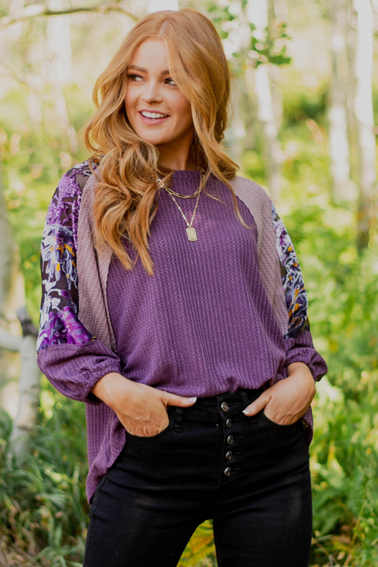 Plum Colorblock Puff Sleeve Waffle Knit Top