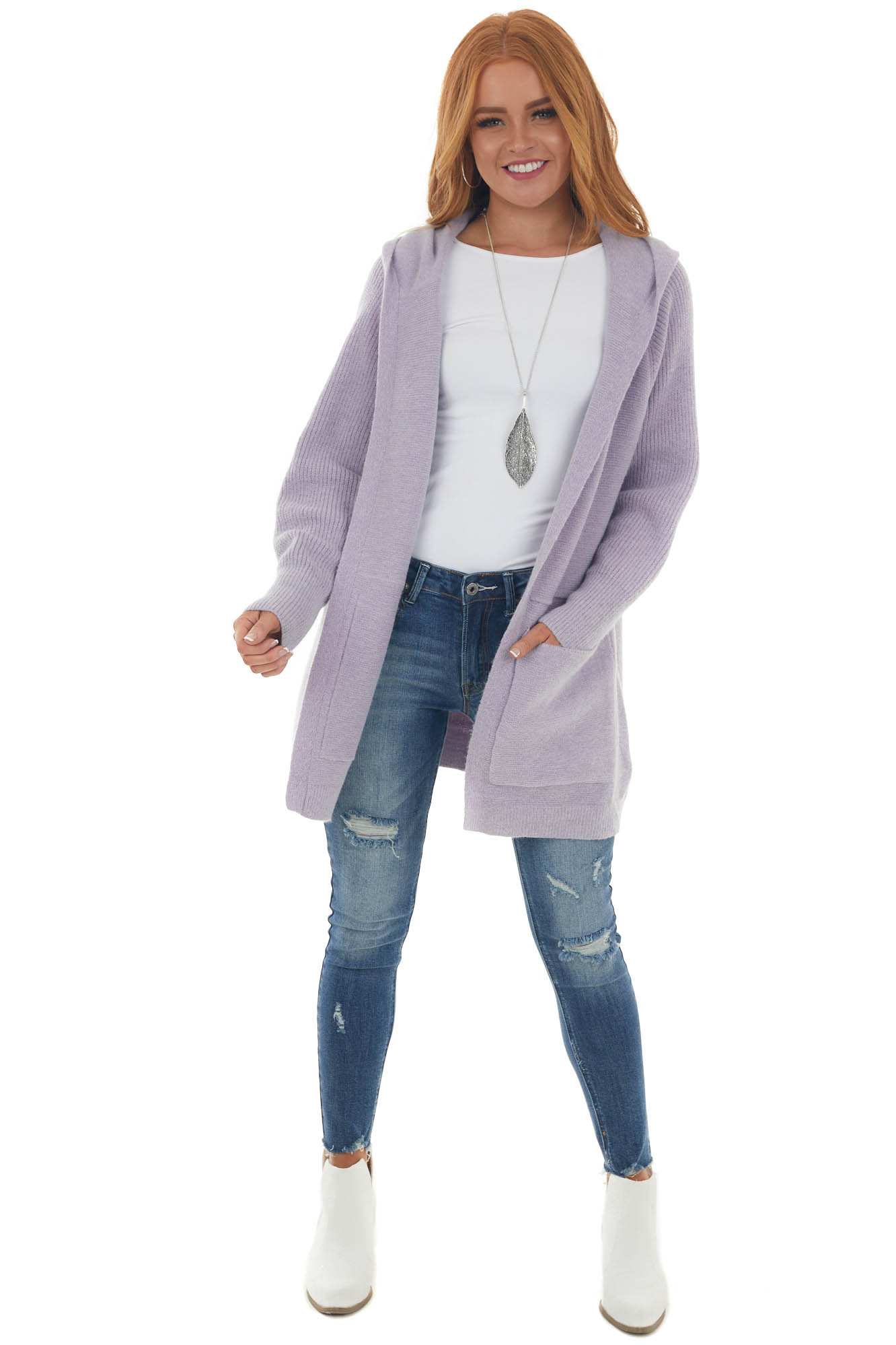 Light Iris Hooded Cardigan with Front Pockets