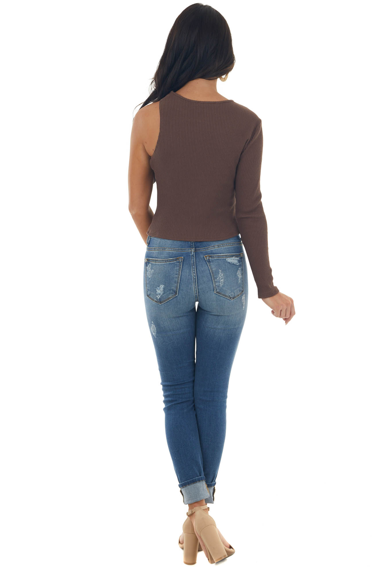 Spice Ribbed Knit One Shoulder Cut Out Top