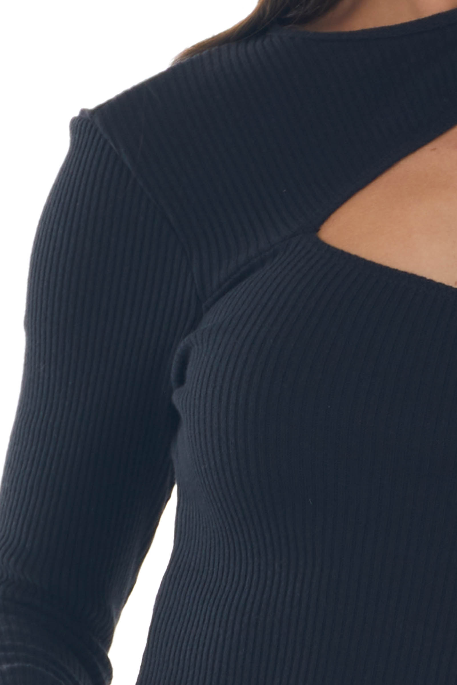 Black Ribbed Knit One Shoulder Cut Out Top
