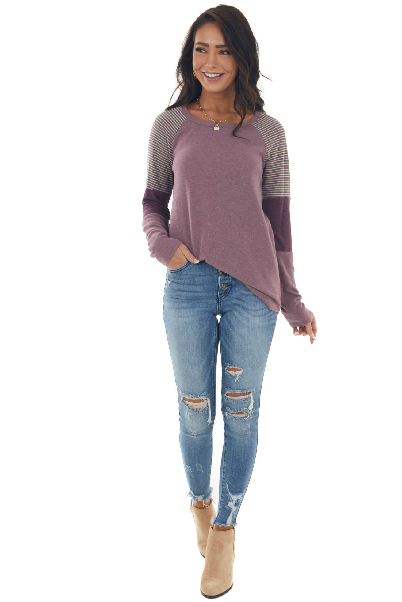 Lilac Long Colorblock Sleeve Soft Knit Top