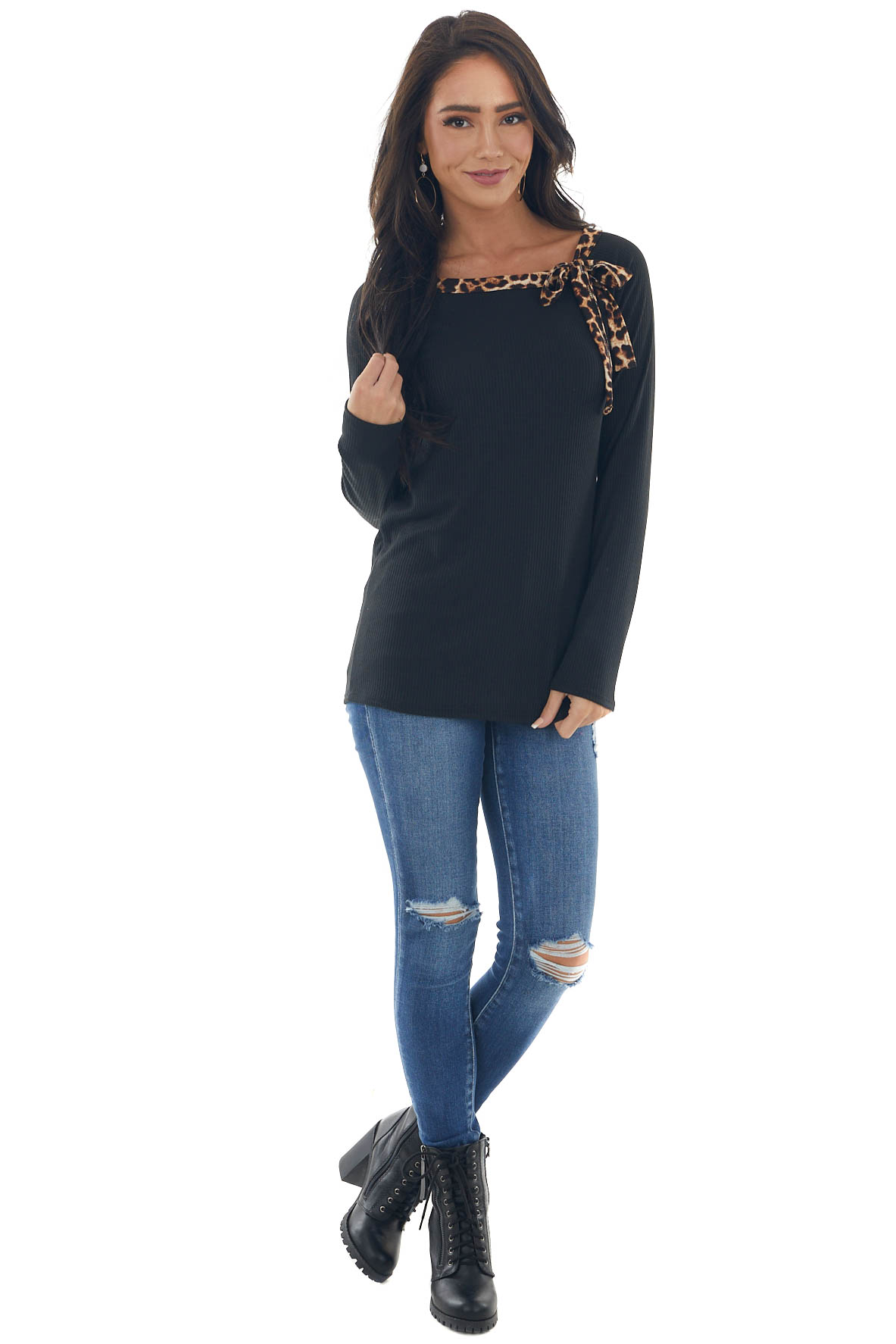 Black Leopard Contrast Tie Ribbed Knit Top