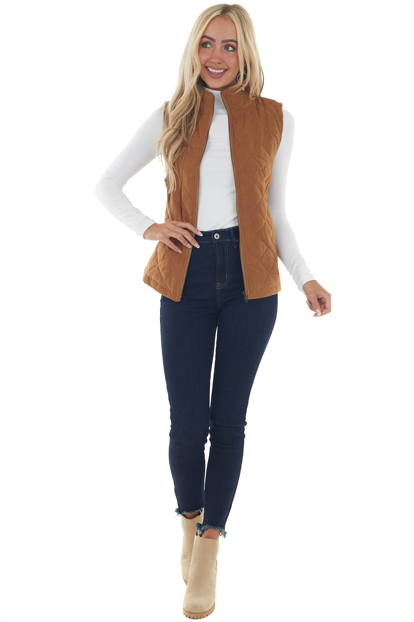 Sepia Quilted Zip Up Vest with Pockets
