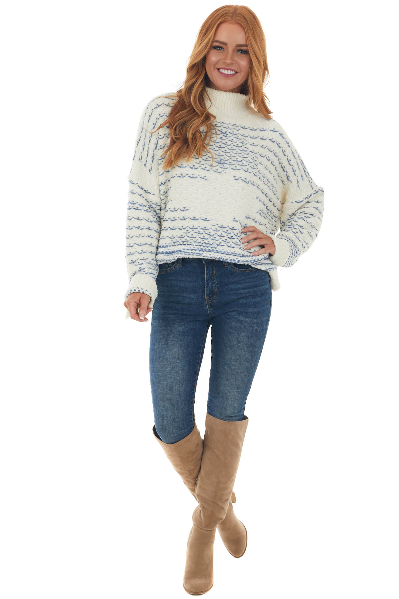 Ivory Printed Mock Neck Soft Knit Sweater Top