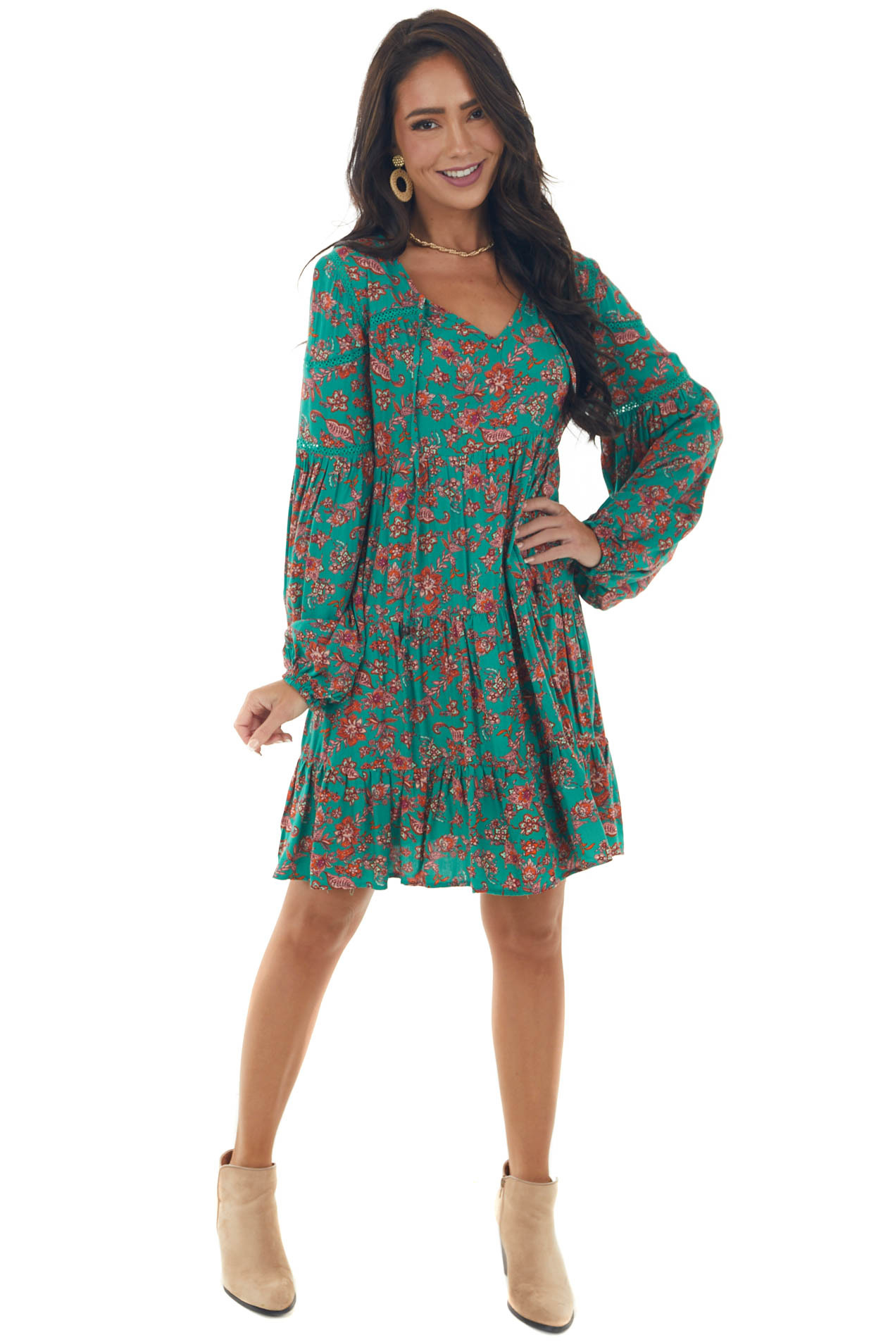 Jade Floral Print Mini Dress with Long Sleeves