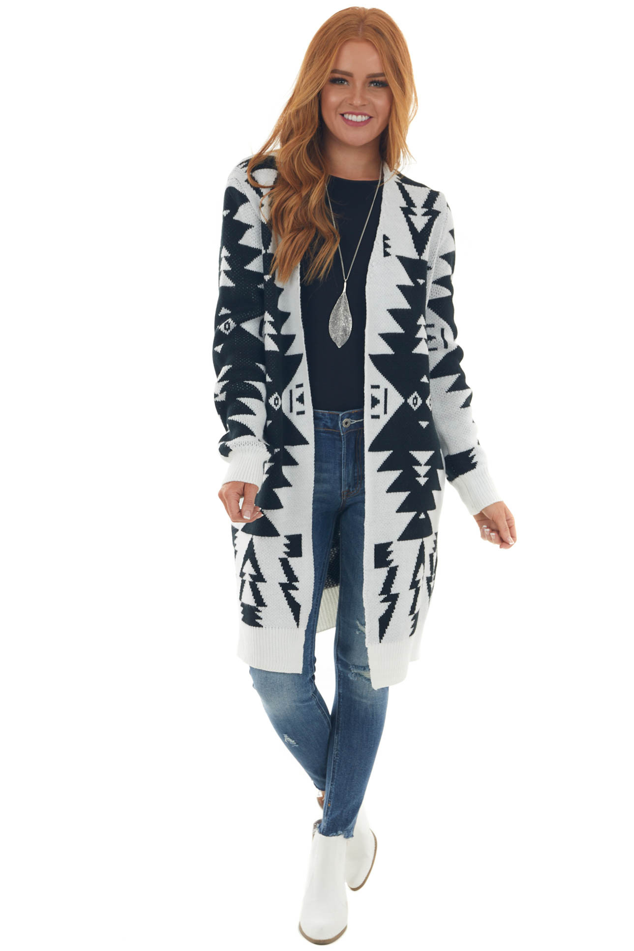 Off White Aztec Print Open Front Knit Cardigan