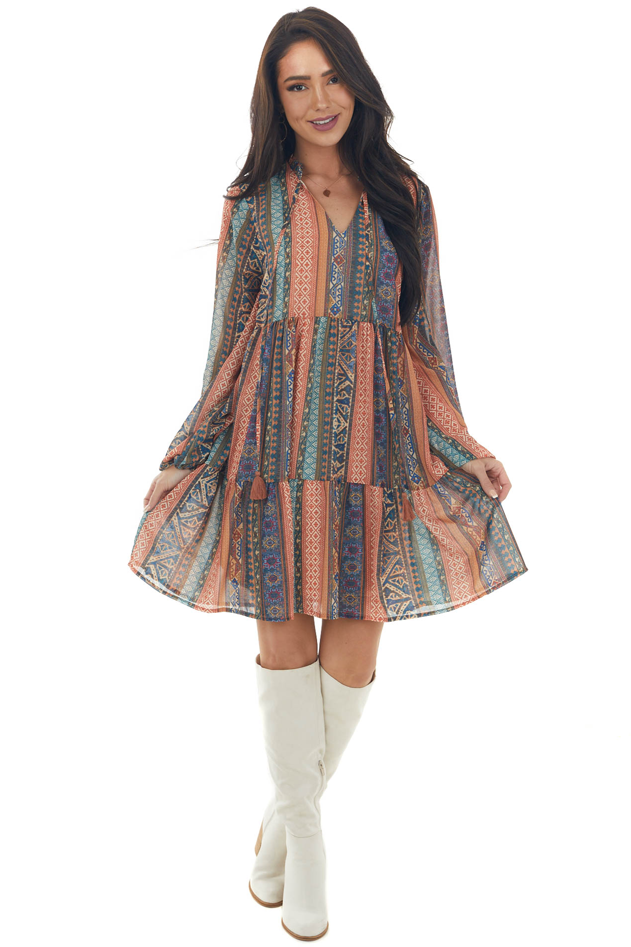 Steel Blue Printed Bubble Sleeve Tiered Dress