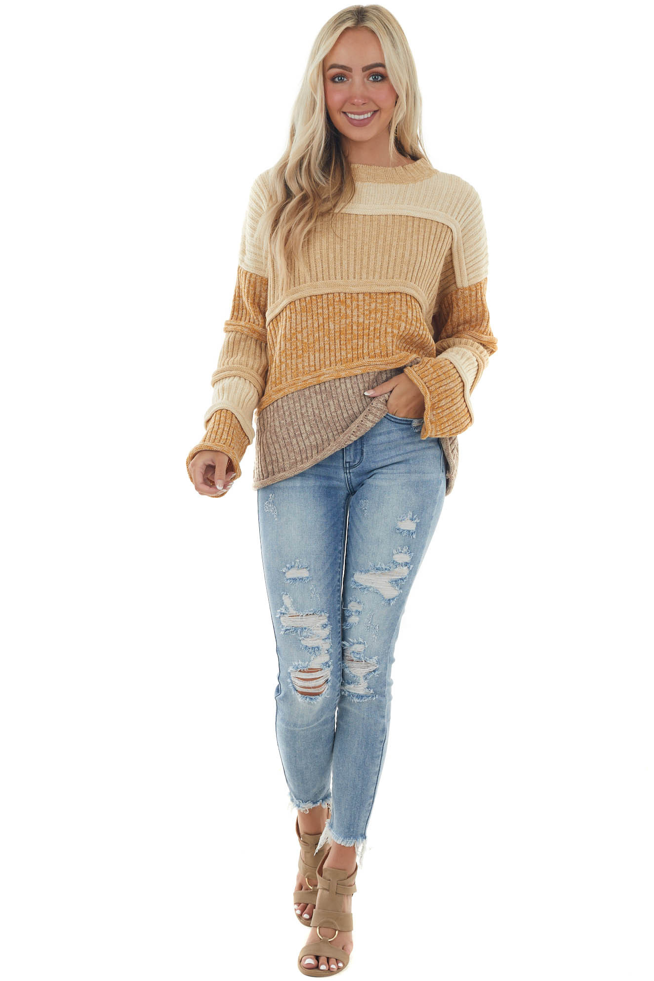 Camel Colorblock Thick Knit Textured Sweater