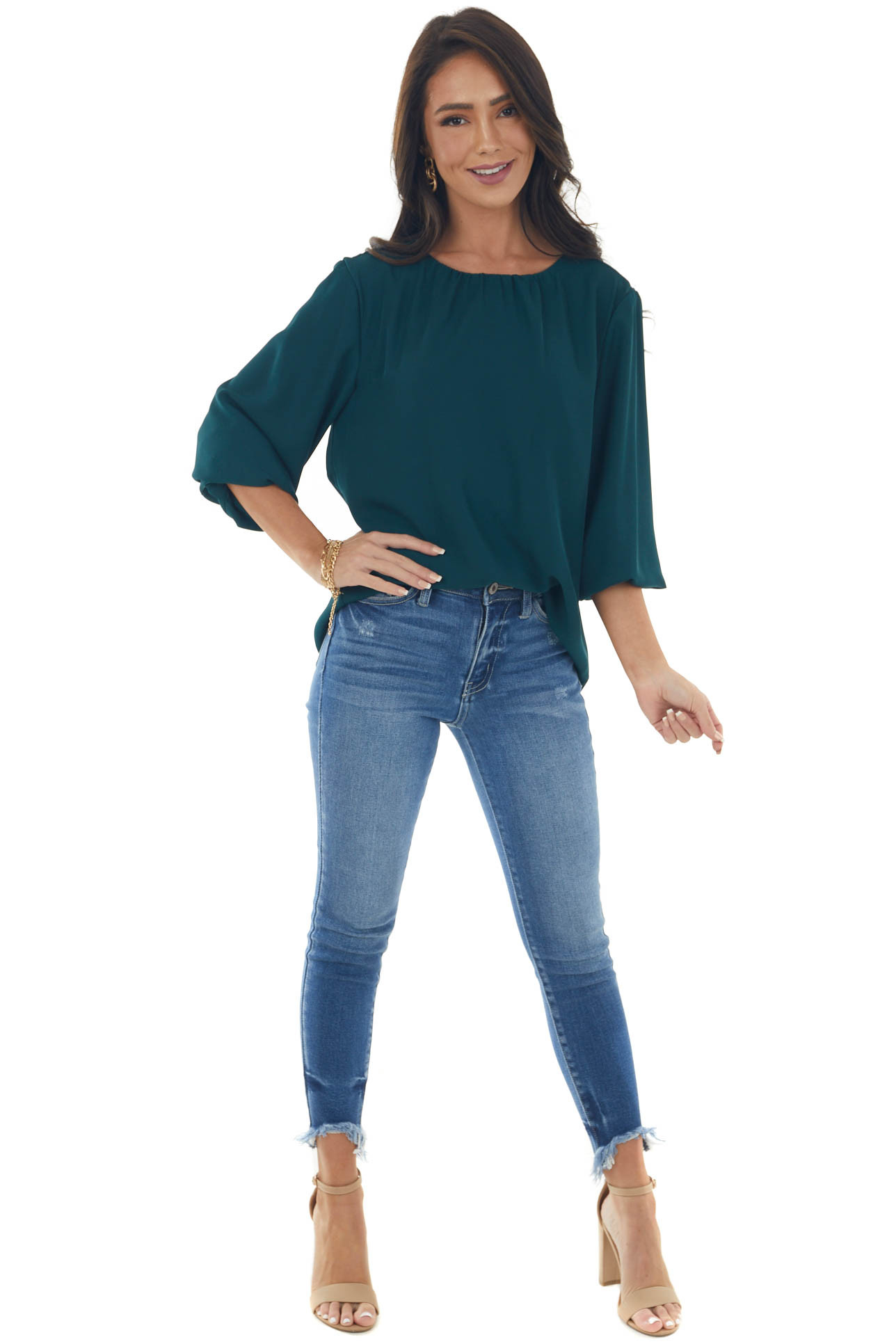 Pine 3/4 Puff Sleeve Blouse with Keyhole Back